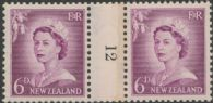 NZ Counter Coil Pair SG 750 1955-59 6d Queen Elizabeth II Join No. 12 (NCC/264)
